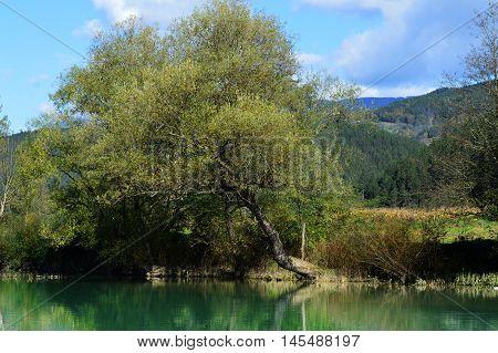 Landscape on Drina. River Drina in Visegrad, Bosni and Herzegovina.