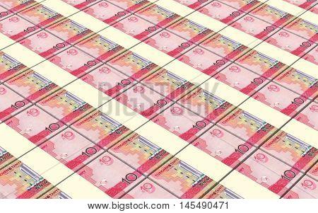 Turkmenistan money bills stacks background. 3D illustration.