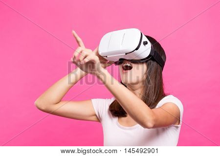 Asian Woman experience though VR device
