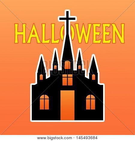 vector of Castle Halloween on orange backgorund