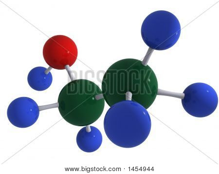 High quality 3D rendering of alcohol (ethanol) molecule C2H5OH. Isolated over white. Reflections. poster