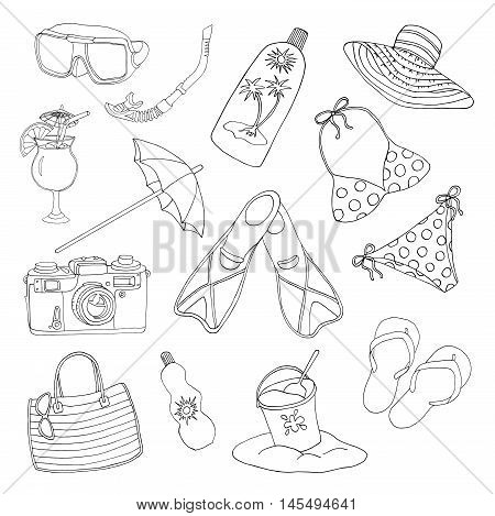 Black and white design set with silhouettes of swimming suite, hat, camera, sandals and other objects for beach holidays