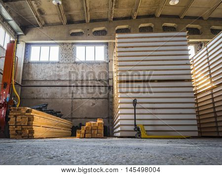 Inside a large warehouse for ready SIP panels.