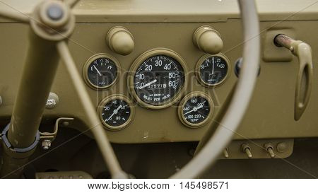 Dashboard of a 1940's military world war two vehicle