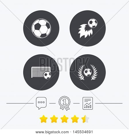Football icons. Soccer ball sport sign. Goalkeeper gate symbol. Winner award laurel wreath. Goalscorer fireball. Chat, award medal and report linear icons. Star vote ranking. Vector poster