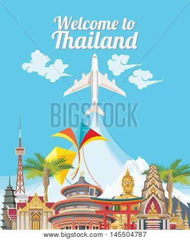 Travel Thailand landmarks. Thai vector icons. Vacations poster with thai ethnic elements  Travel Thailand landmarks. Thai vector icons. Vacations poster with thai ethnic elements