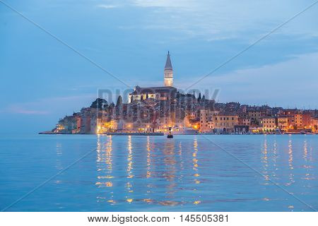 Coastal town of Rovinj, Istria, Croatia in sunset. Romantic Rovinj is a town in Croatia situated on the north Adriatic Sea Located on the western coast of the Istrian peninsula.