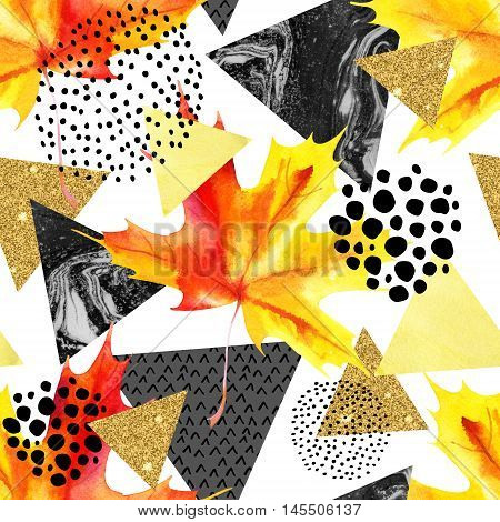 Abstract autumn geometric seamless pattern. Watercolor maple leaf triangles marble glitter grunge textured. Abstract geometric background in retro vintage 80s 90s pop art. Hand painted illustration