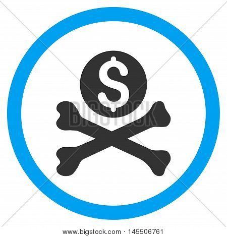 Mortal Debt vector bicolor rounded icon. Image style is a flat icon symbol inside a circle, blue and gray colors, white background.