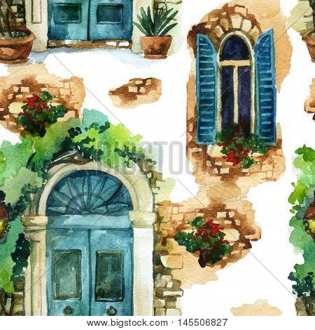 Watercolor traditional vintage windows and door in european style with potted flowers brick stones. Rustic background. Hand painted illustration in vintage style