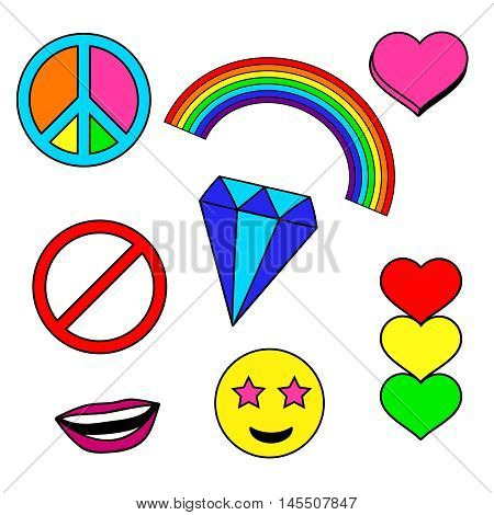 Colorful patches collection with heart, rainbow, stop sign, smile face, diamond, crystal, peace pin. Sewing elements. Hand drawn vector Illustration, retro style. Fashion trend pins badges set poster