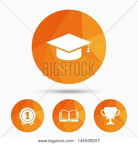 Graduation icons. Graduation student cap sign. Education book symbol. First place award. Winners cup. Triangular low poly buttons with shadow. Vector