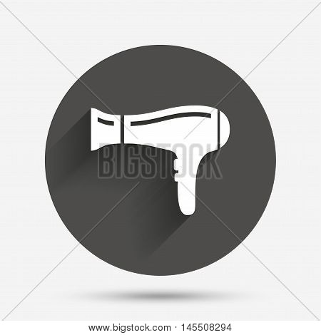 Hairdryer sign icon. Hair drying symbol. Circle flat button with shadow. Vector