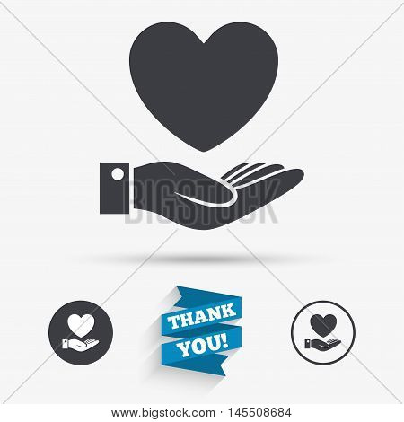 Heart and hand sign icon. Palm holds love symbol. Flat icons. Buttons with icons. Thank you ribbon. Vector