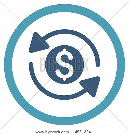 Money Turnover vector bicolor rounded icon. Image style is a flat icon symbol inside a circle, cyan and blue colors, white background.