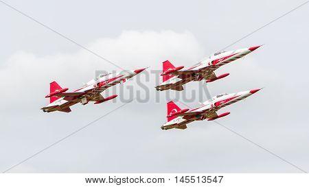 Leeuwarden, The Netherlands - June 10, 2016: Turkish Air Force Demonstration Team Turkish Stars At T