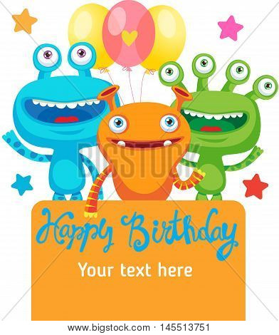 Monster Party Invitation Card Design With Place For Text. Colorful Vector Cartoon Illustration. Funny Birthday Greeting Card. Small Alien Creature.