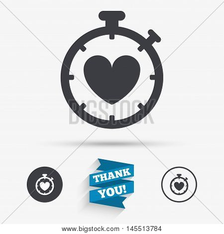 Heart Timer sign icon. Stopwatch symbol. Heartbeat palpitation. Flat icons. Buttons with icons. Thank you ribbon. Vector