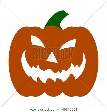 Jack-o'-lantern On White Background, Jack-o-lantern Halloween Pumpkin. Flat Icon For Apps, Websites