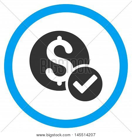 Approved Payment vector bicolor rounded icon. Image style is a flat icon symbol inside a circle, blue and gray colors, white background.