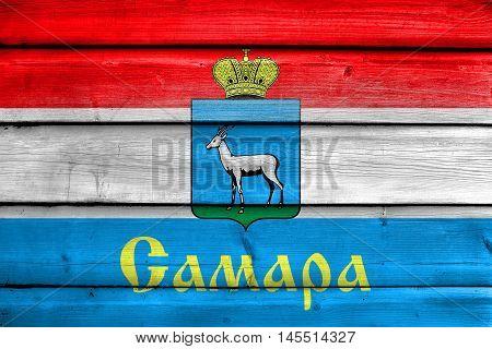 Flag Of Samara, Samara Oblast, Russia, Painted On Old Wood Plank Background