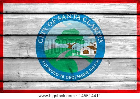 Flag Of Santa Clarita, California, Usa, Painted On Old Wood Plank Background