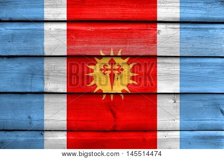 Flag Of Santiago Del Estero Province, Argentina, Painted On Old Wood Plank Background