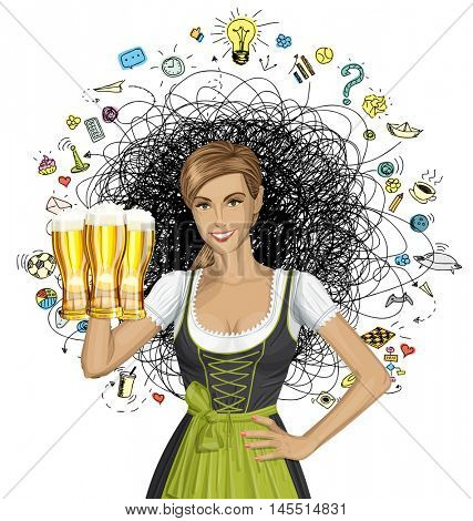 Vector cute woman in drindl on oktoberfest shows well done