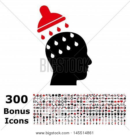 Brain Washing icon with 300 bonus icons. Glyph illustration style is flat iconic bicolor symbols, intensive red and black colors, white background.