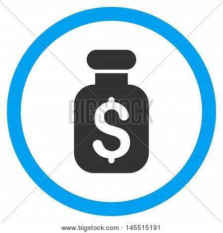 Business Remedy vector bicolor rounded icon. Image style is a flat icon symbol inside a circle, blue and gray colors, white background.