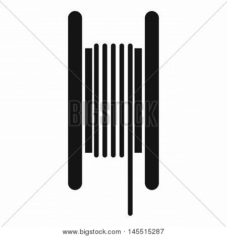 Electric cable in coil icon in simple style isolated on white background. Cable routing symbol