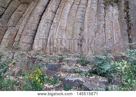Interesting geological formation - Rock Loaves - massif of the remains of several lava flows - example of basalt columnar jointing