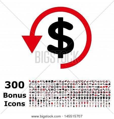 Chargeback icon with 300 bonus icons. Glyph illustration style is flat iconic bicolor symbols, intensive red and black colors, white background.