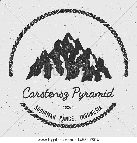 Carstensz Pyramid In Sudirman Range, Indonesia Outdoor Adventure Logo. Round Hiking Vector Insignia.