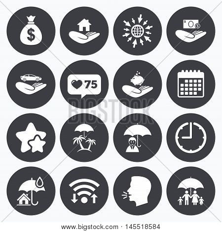 Calendar, wifi and clock symbols. Like counter, stars symbols. Insurance icons. Life, Real estate and House signs. Money bag, family and travel symbols. Talking head, go to web symbols. Vector