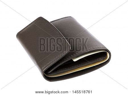 Brown leather wallet or purse with money isolated on white background.