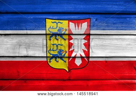 Flag Of Schleswig-holstein With Coat Of Arms, Germany, Painted On Old Wood Plank Background