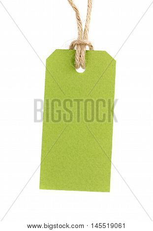 Price tag from recycled paper on twine cord isolated on white background.