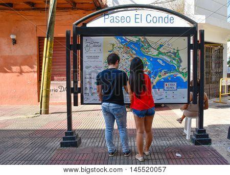 SANTO DOMINGO, DOMINICAN REPUBLIC - January 24, 2016: Street life and view of Calle el Conde and Columbus Park of Santo Domingo.