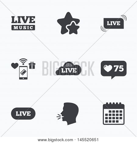 Live music icons. Karaoke or On air stream symbols. Cloud sign. Flat talking head, calendar icons. Stars, like counter icons. Vector