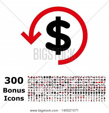 Refund icon with 300 bonus icons. Glyph illustration style is flat iconic bicolor symbols, intensive red and black colors, white background.