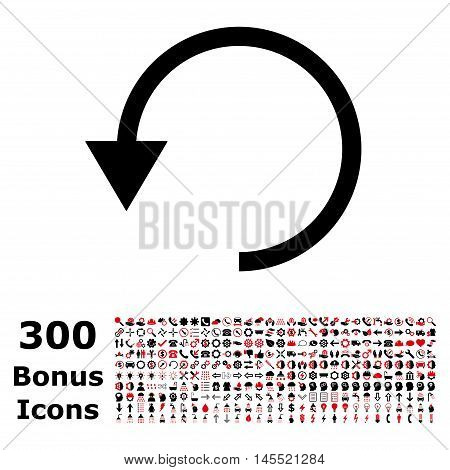 Rotate Ccw icon with 300 bonus icons. Glyph illustration style is flat iconic bicolor symbols, intensive red and black colors, white background.