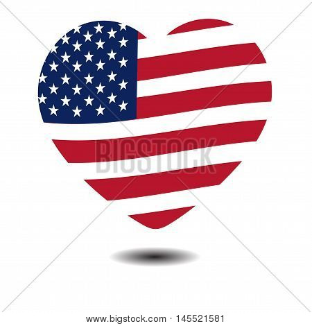 American Independence Day, a big heart, US symbols, vector illustration