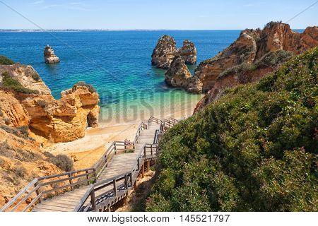 View of beach Praia do Camilo. Algarve, Portugal