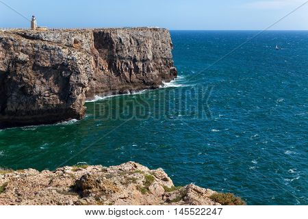 Algarve rocky coast near Sagres fortress Fortaleza de Sagres Portugal