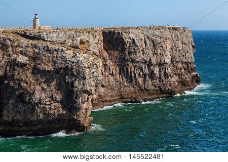 Rocky coast near Sagres fortress Fortaleza de Sagres Algarve Portugal