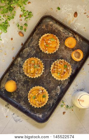 Homemade tasty tarts with apricots, nuts and herbs
