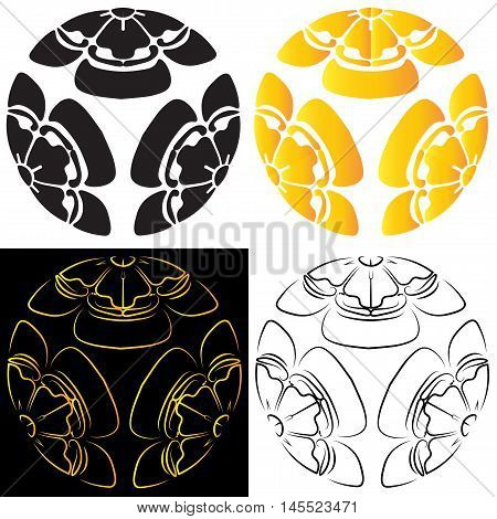 Set melon colors consisting of black and gold stylized image of a white and black background, tattoo, a symbol of survival in Japan. Vector illustration