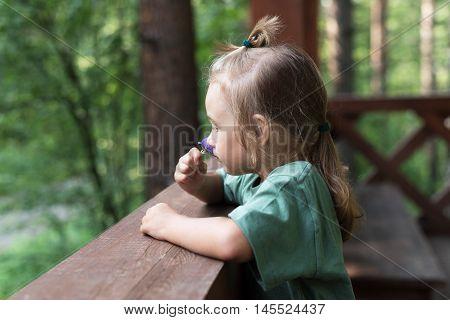 Little girl smelling a flower in wooden summerhouse.