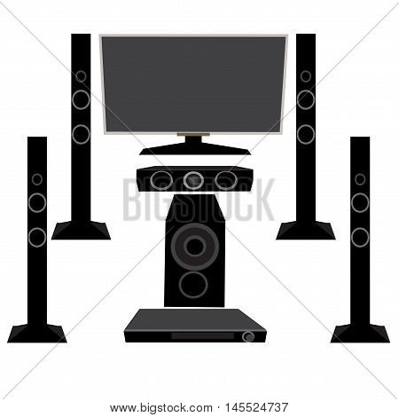 Set HI-FI Household appliances: TV and audio equipment 5.1 on an isolated white background, vector illustration
